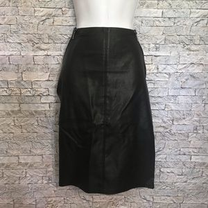 Guess Moto Zipper Faux Leather Cloth Pencil Skirt
